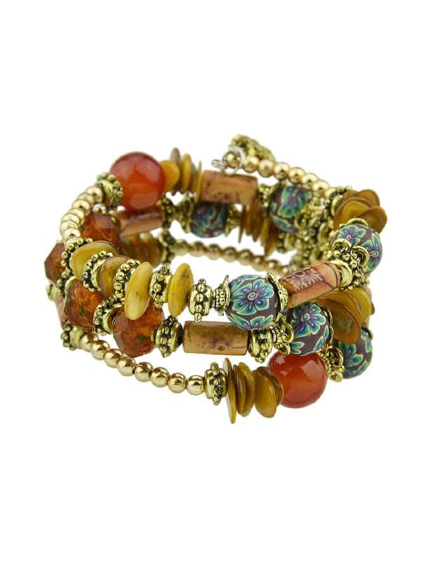 Red Handmade Beaded Winding Bracelet plain beaded bracelet