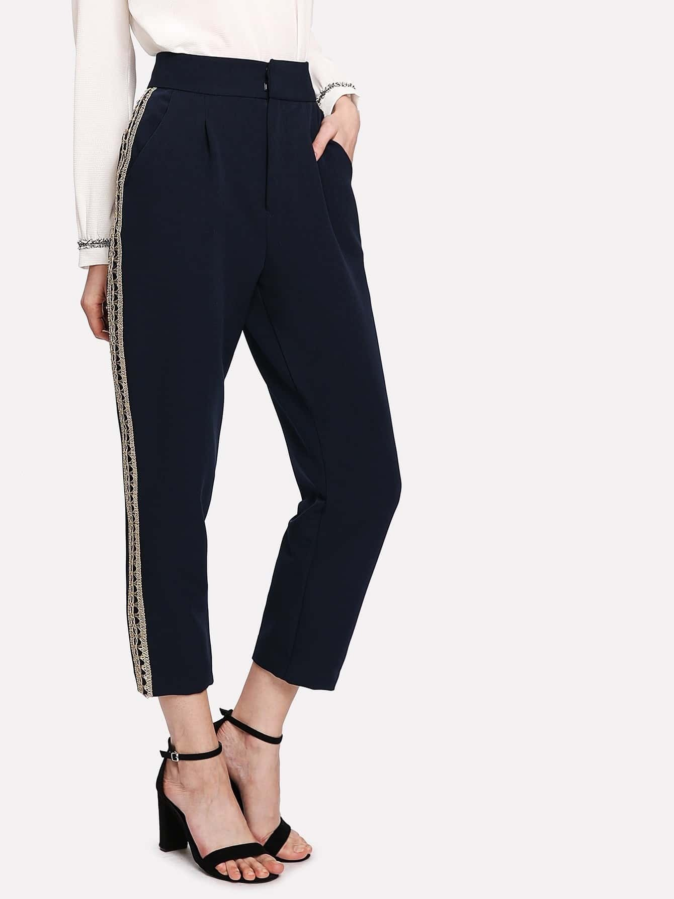 Image of Crochet Tape High Waist Crop Pants