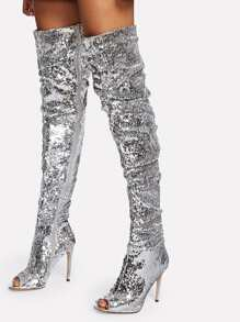 Sequin Overlay Block Heeled Thigh High Boots