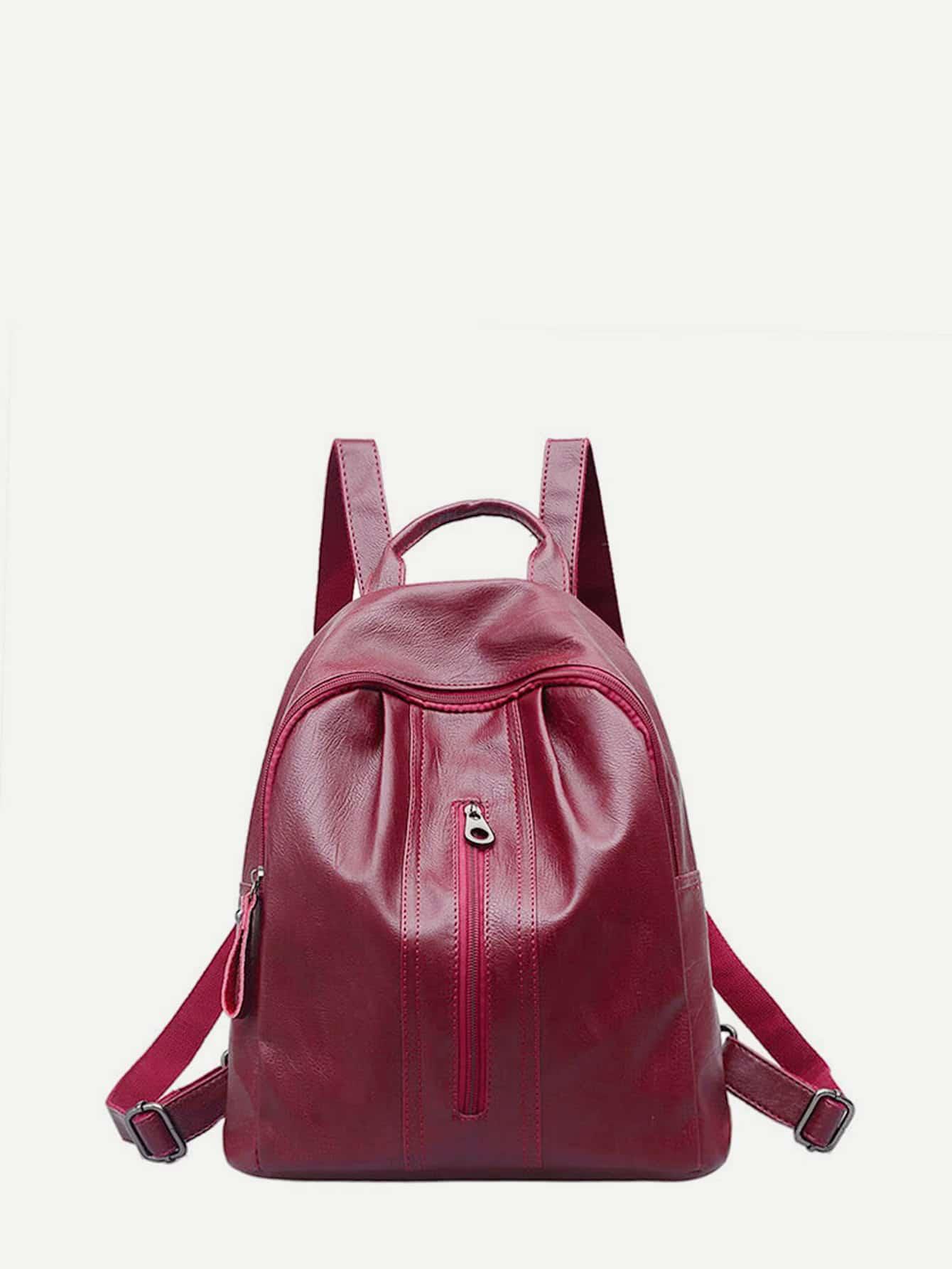 PU Zipper Front Backpack цена 2017