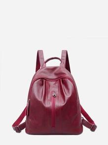 PU Zipper Front Backpack
