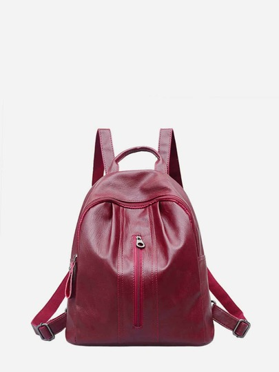 PU Zipper Front Backpack