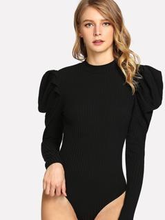 Leg-of-mutton Sleeve Keyhole Back Bodysuit