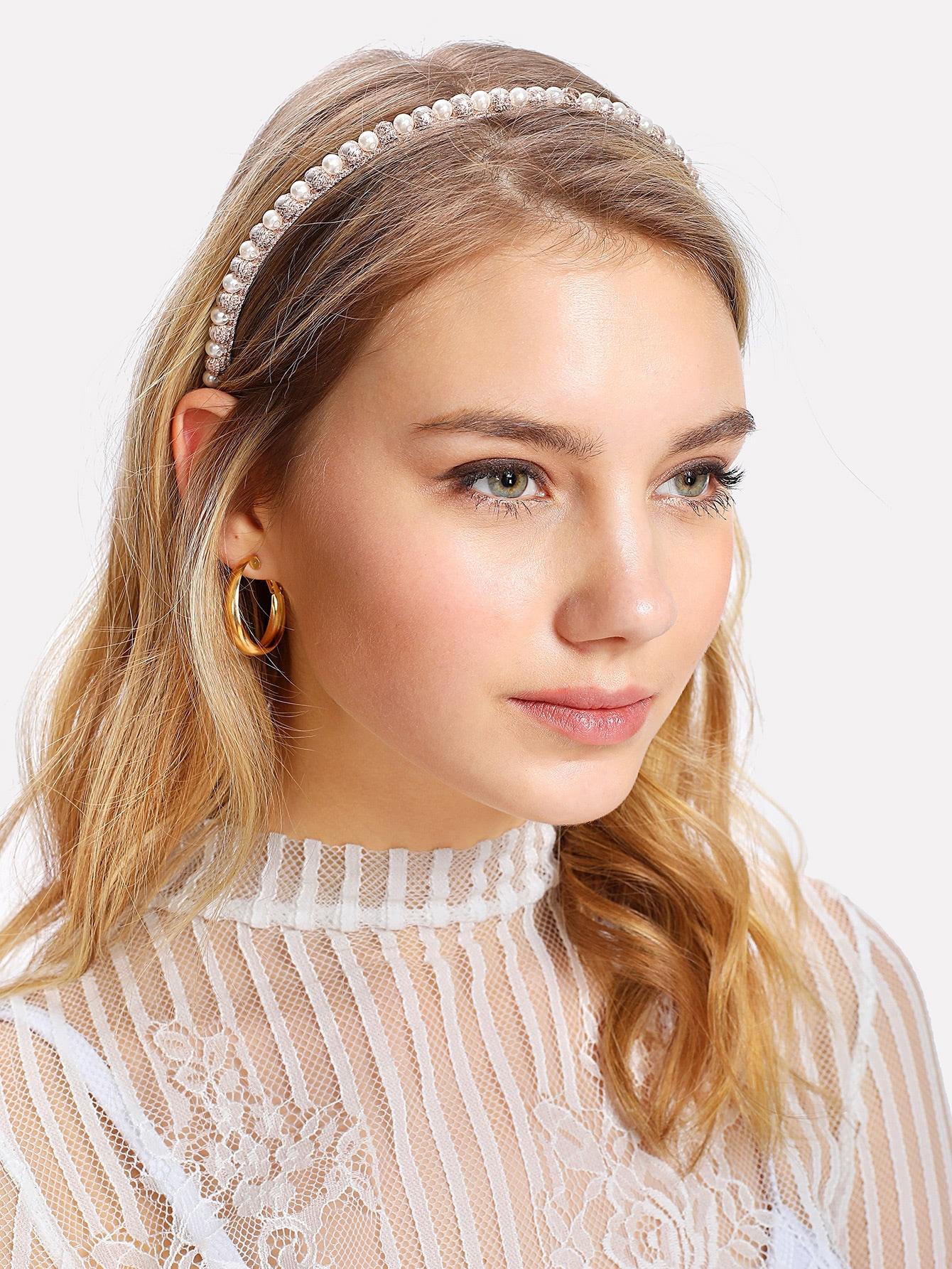 Faux Pearl Headband faux pearl dot print dress