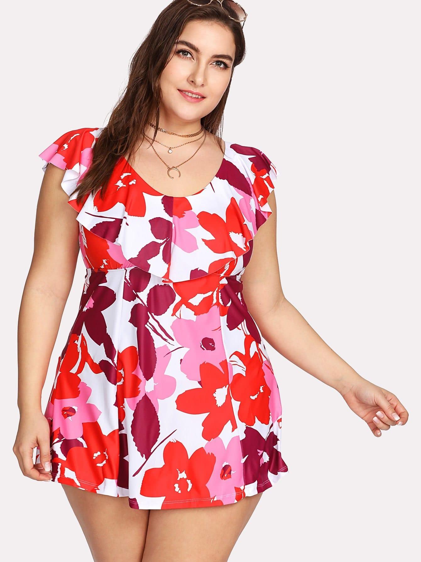 Floral Flounce Swim Dress Set