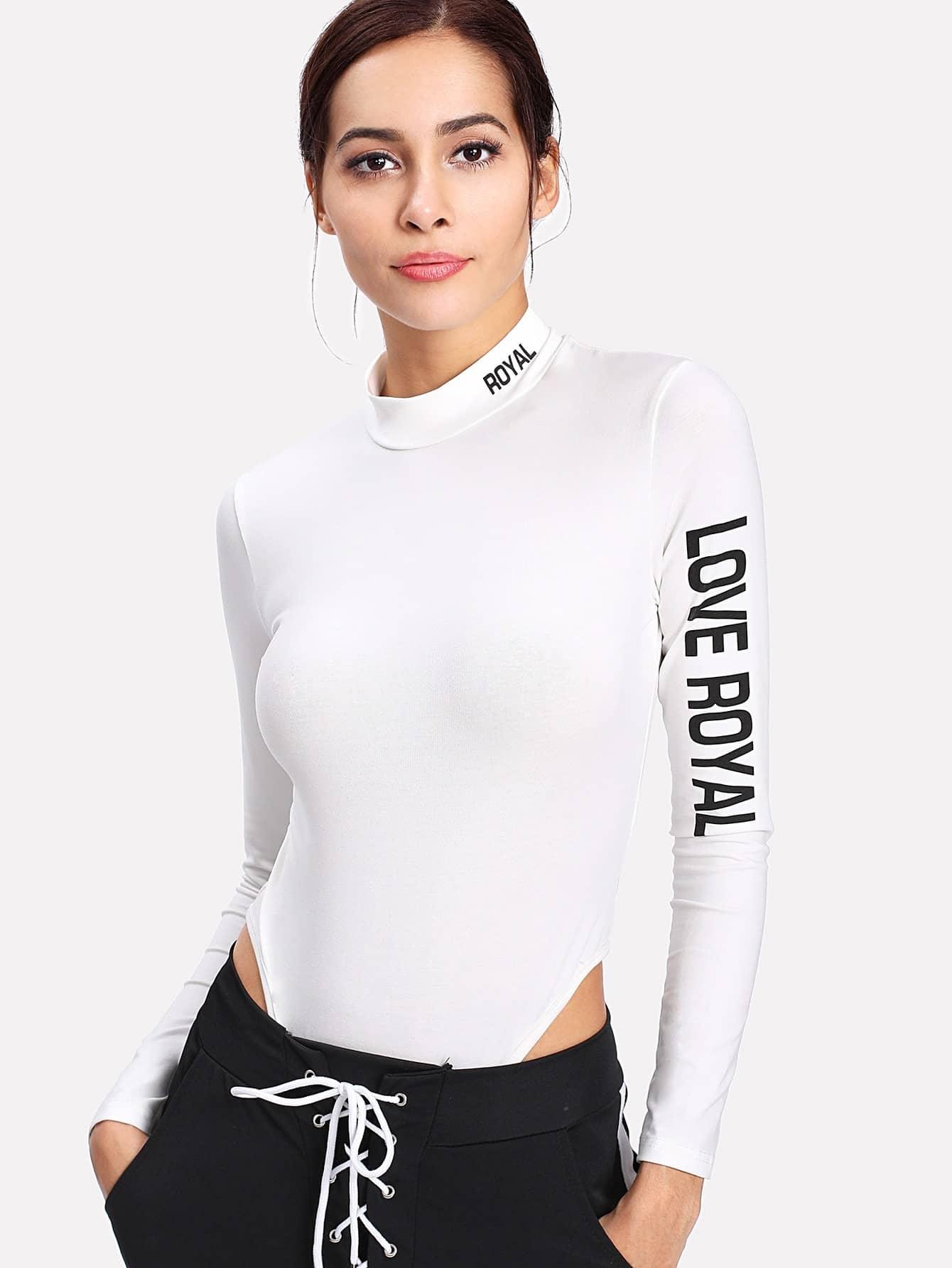 Mock Neck Letter Print Bodysuit geo print mock neck rashguard set