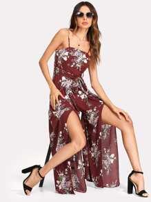 Split Wide Leg Floral Cami Jumpsuit