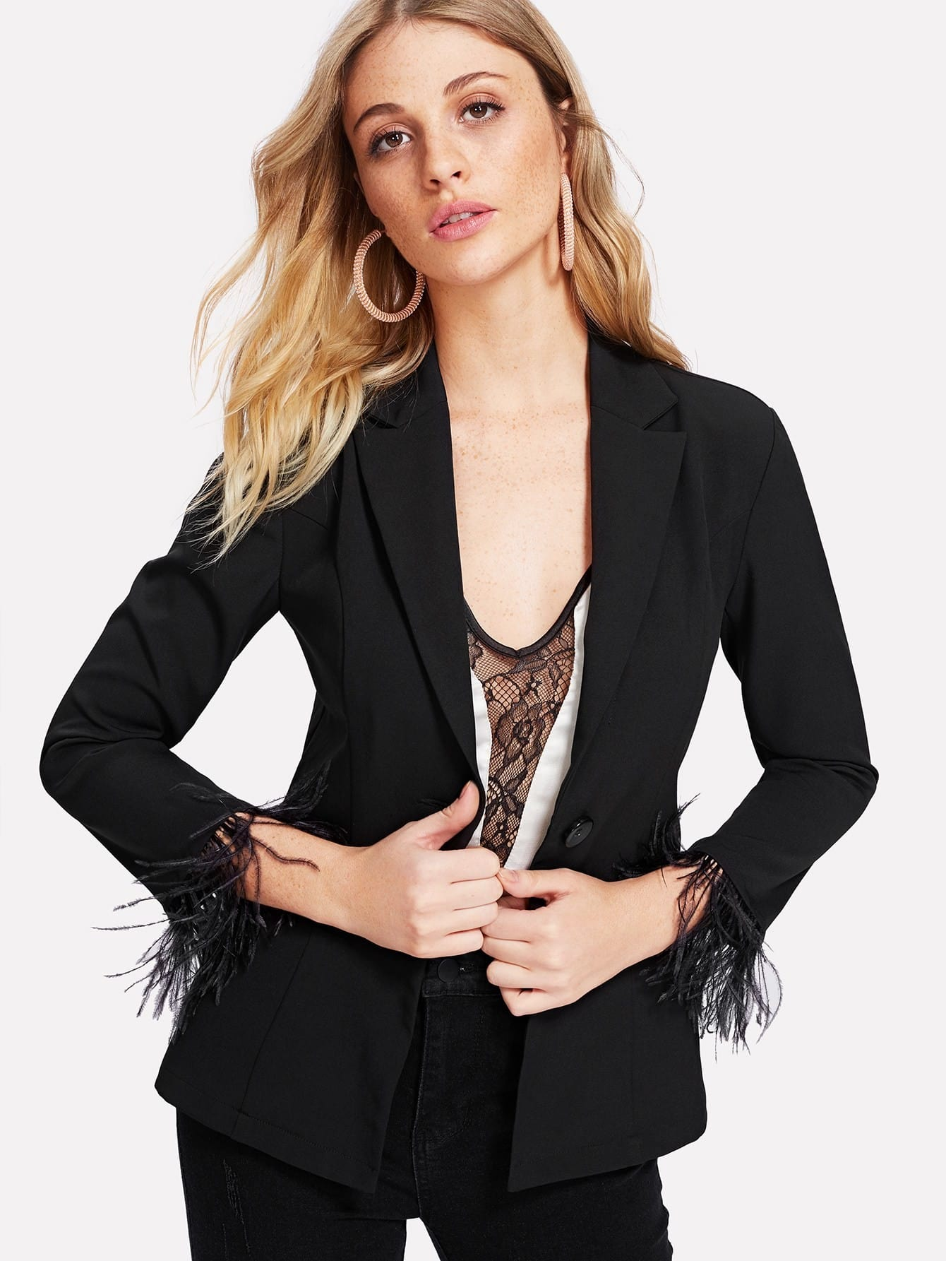 Faux Feather Cuff Tailored Blazer