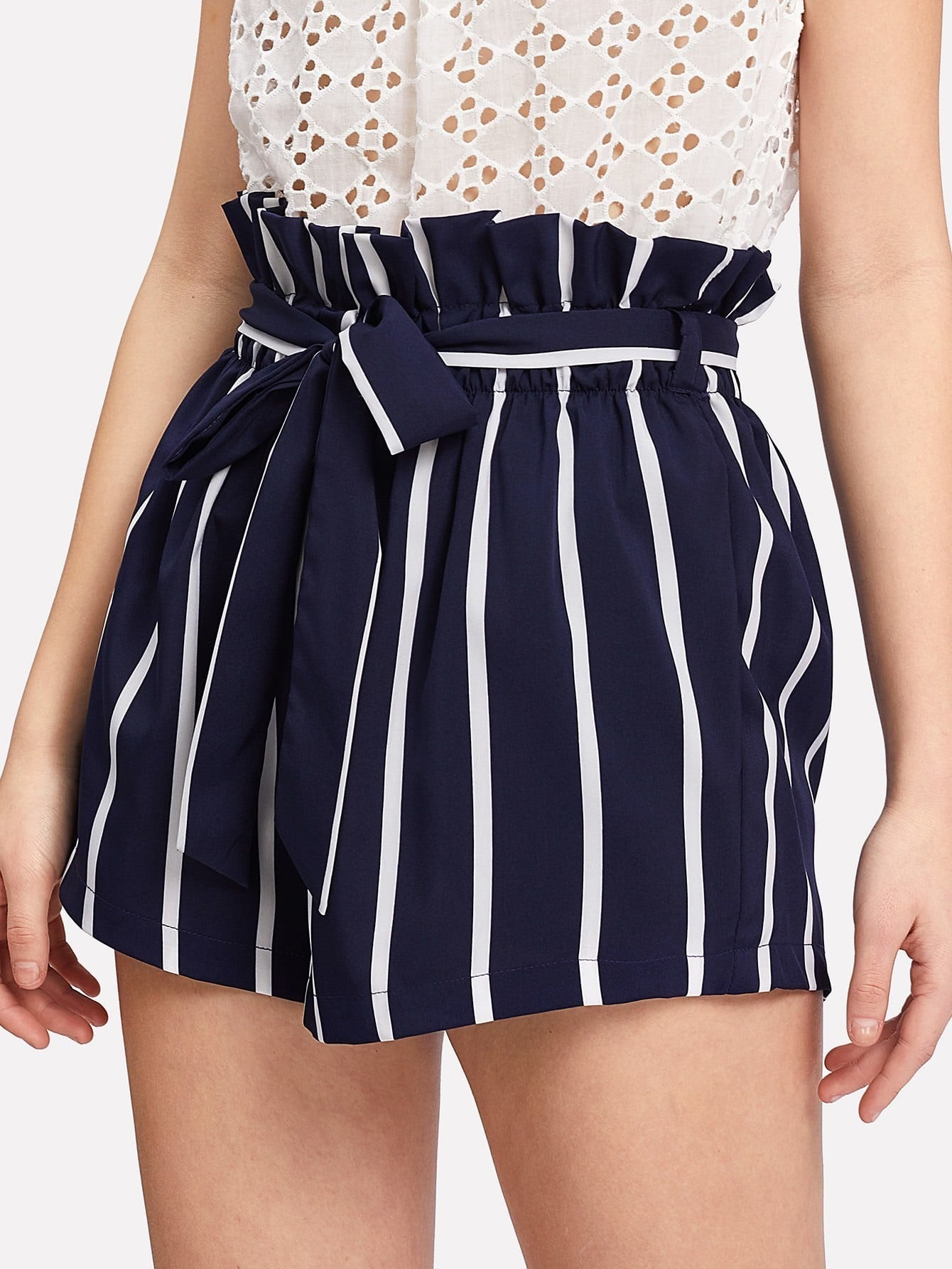 Belted Ruffle Waist Striped Shorts ruffle waist belted peg pants