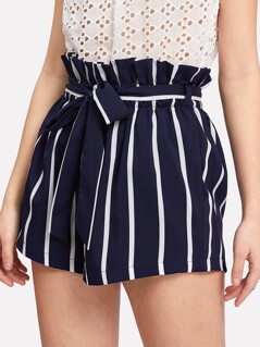 Belted Ruffle Waist Striped Paperbag Shorts