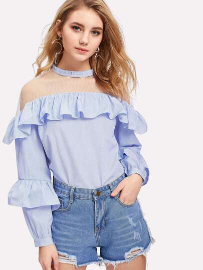 Mesh Panel Striped Flounce Blouse