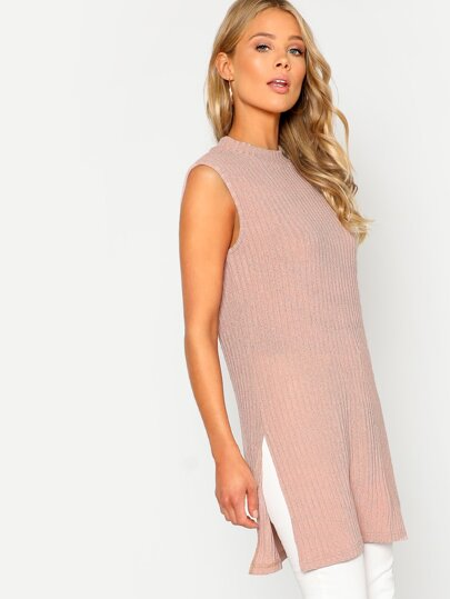 Slit Side Ribbed Knit Tee