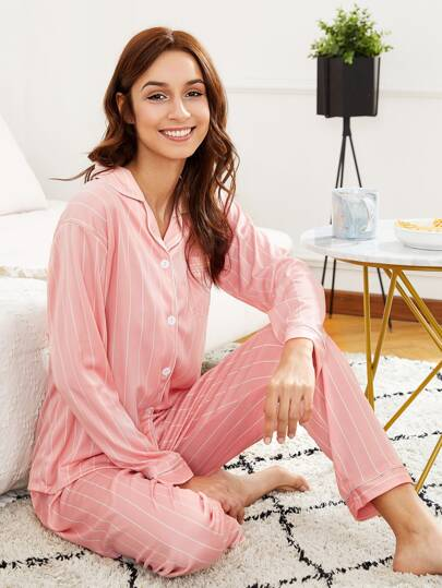 Contrast Binding Striped Shirt & Pants PJ Set