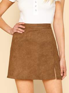 Split Hem Suede Skirt