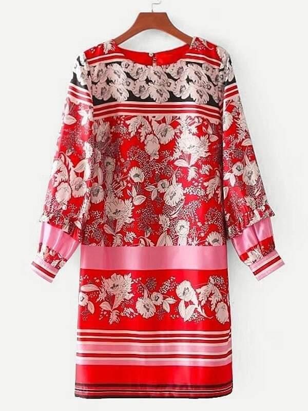 Striped & Flower Print Tunic Dress flower print tunic dress