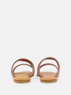d19fb1ba814 Open Toe Double Strap Sandals TAN