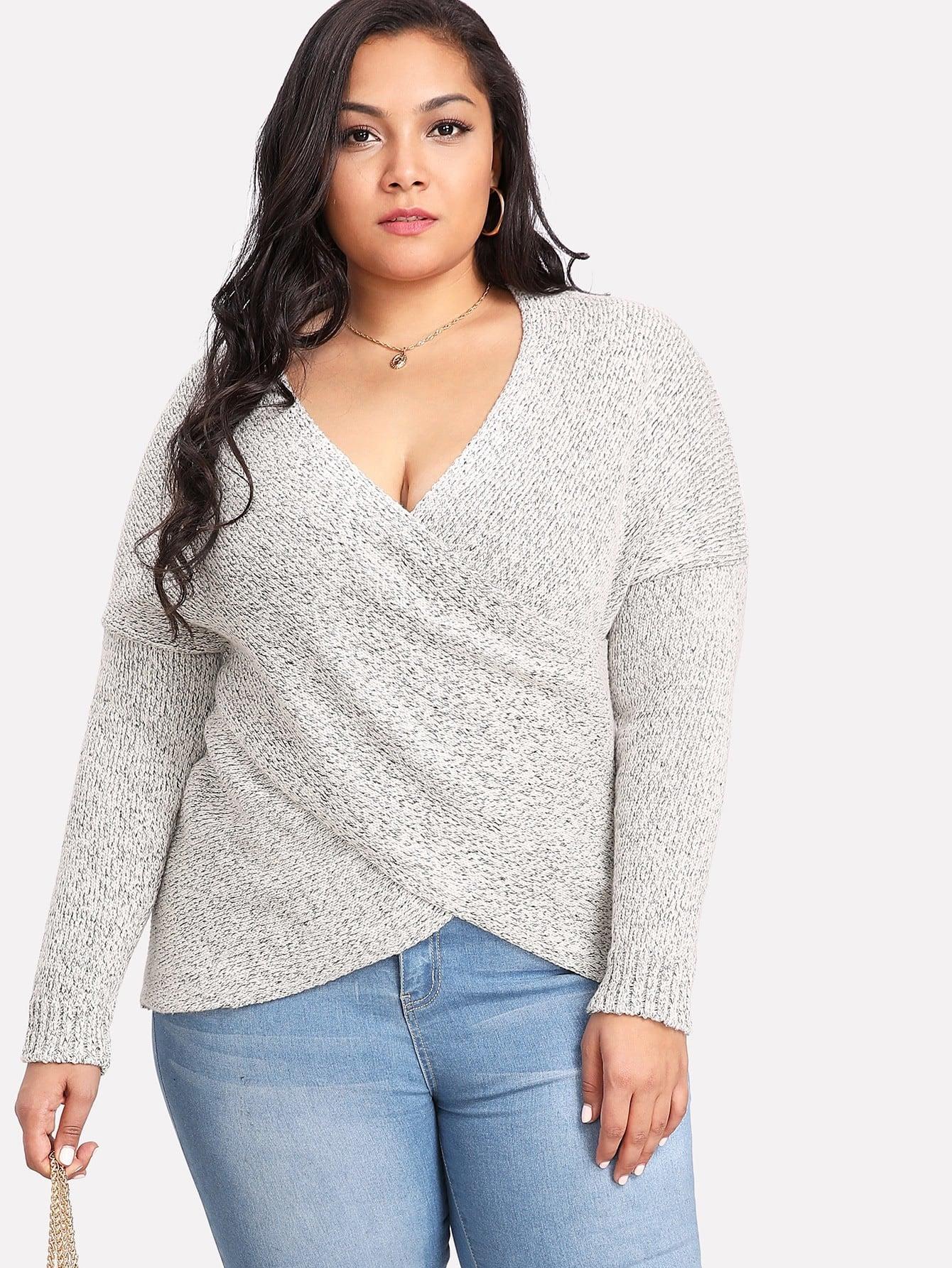 Deep V Neckline Drop Shoulder Knit Sweater drop shoulder marled knit sweater