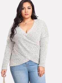 Deep V Neckline Drop Shoulder Knit Sweater