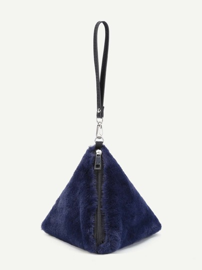 Pyramid Design Faux Fur Wristlet Wallet