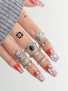 Carved Black Gem Ring Set