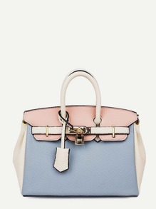 Colorblock Metal Lock Design Satchel bag