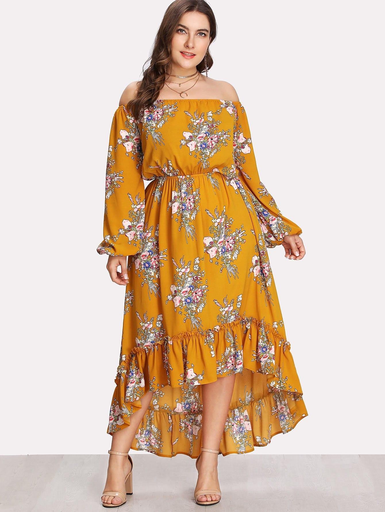 Plus Lantern Sleeve Ruffle Dip Hem Bardot Dress striped sleeve ruffle dip hem dress