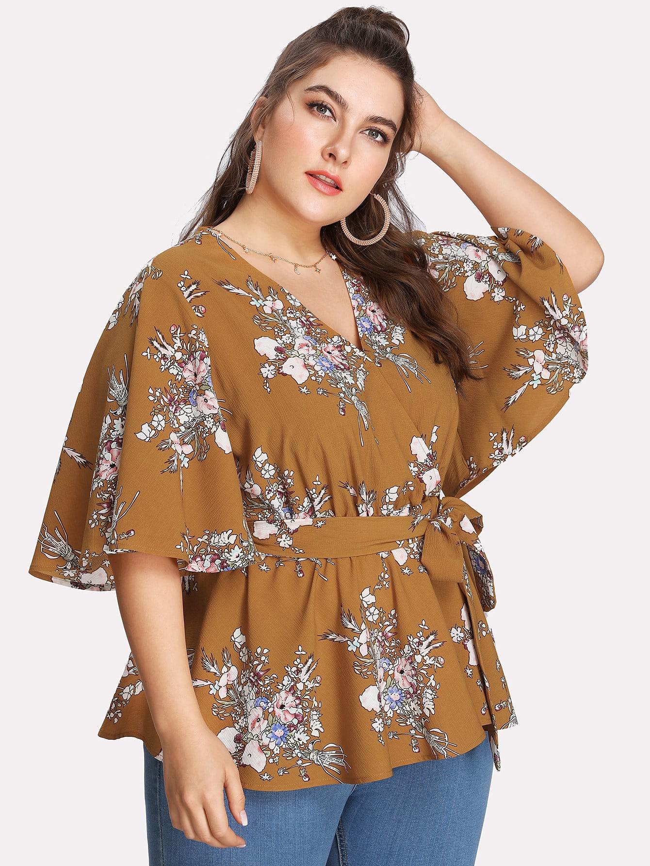 Купить Модная блуза с поясом и цветочным принтом, Franziska, SheIn