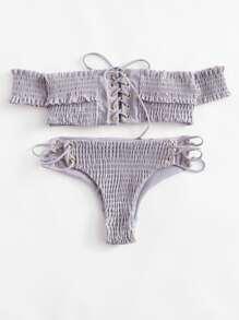 Lace Up Bardot Shirred Bikini Set