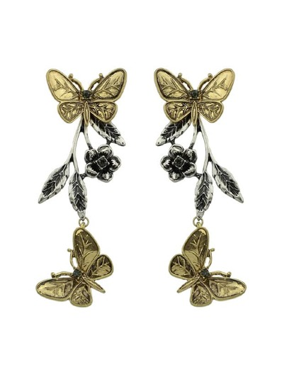 Ethnic Butterfly Flower Leaf Drop Earrings