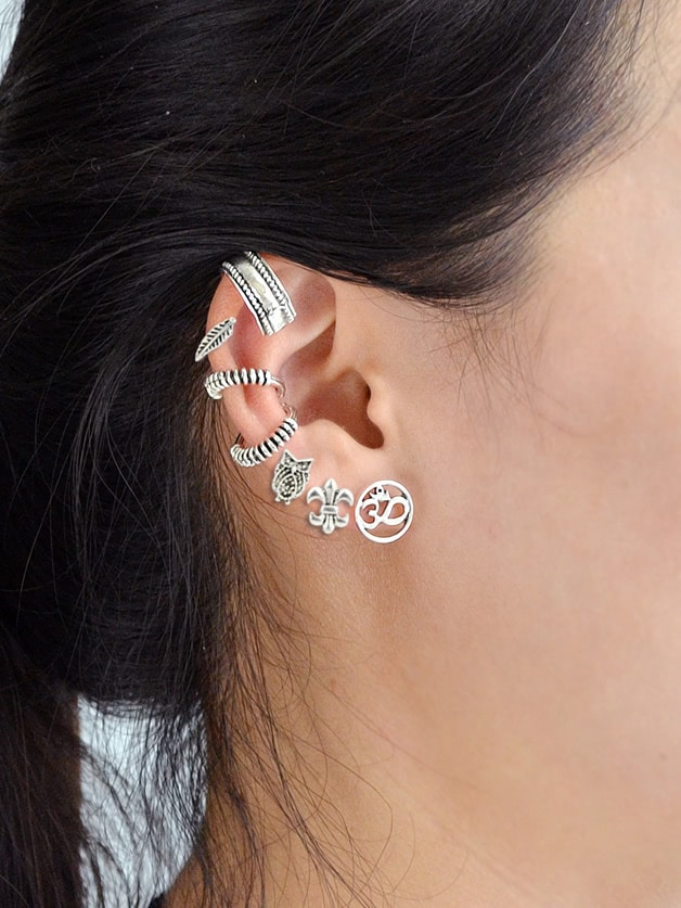 7Pcs/Set Antique Boho Chic Ear Cuff Cartilage Clip Earrings faux pearl rhinestoned cartilage ear cuff set