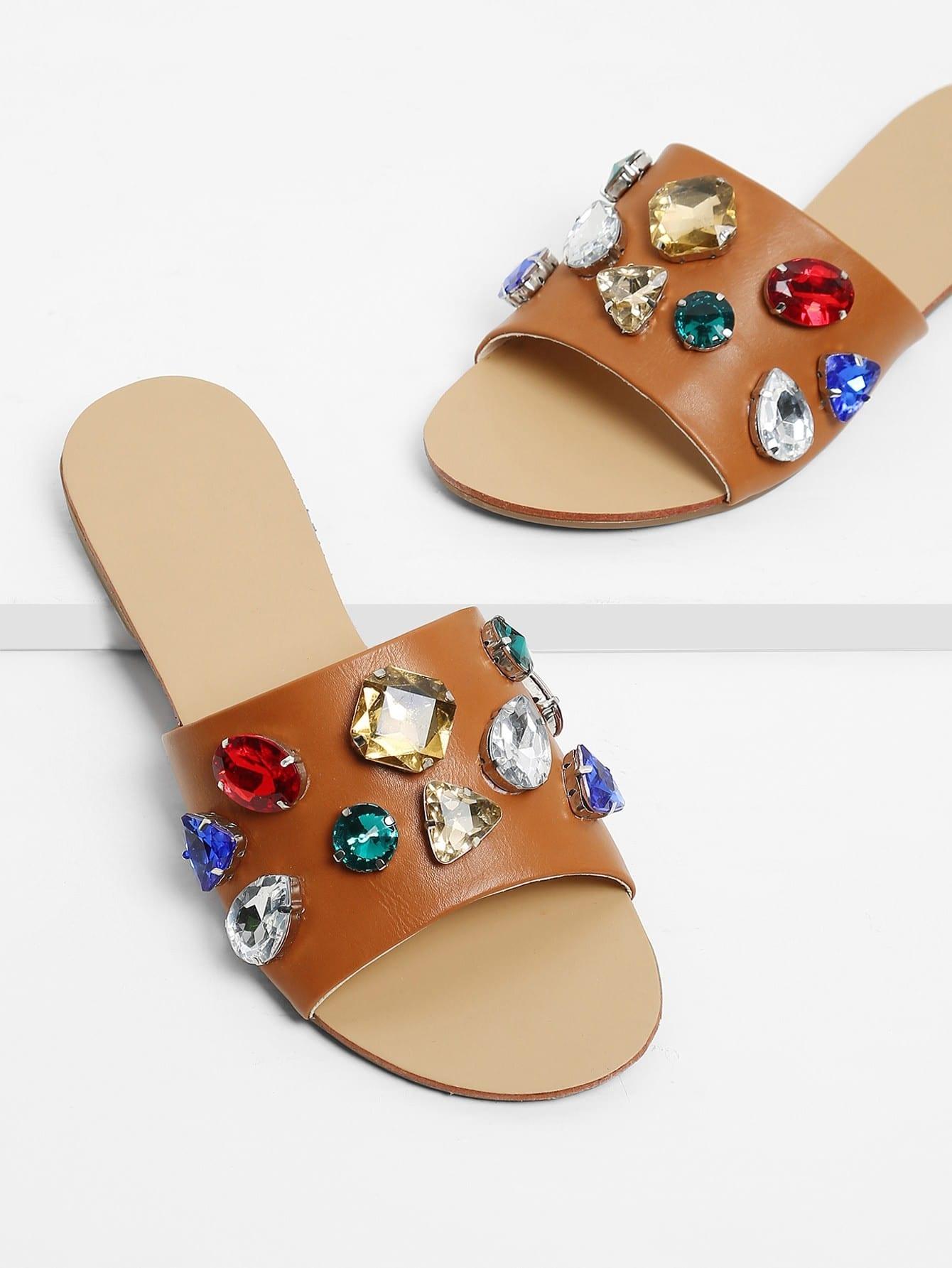 Rhinestone Design Flat Sandals