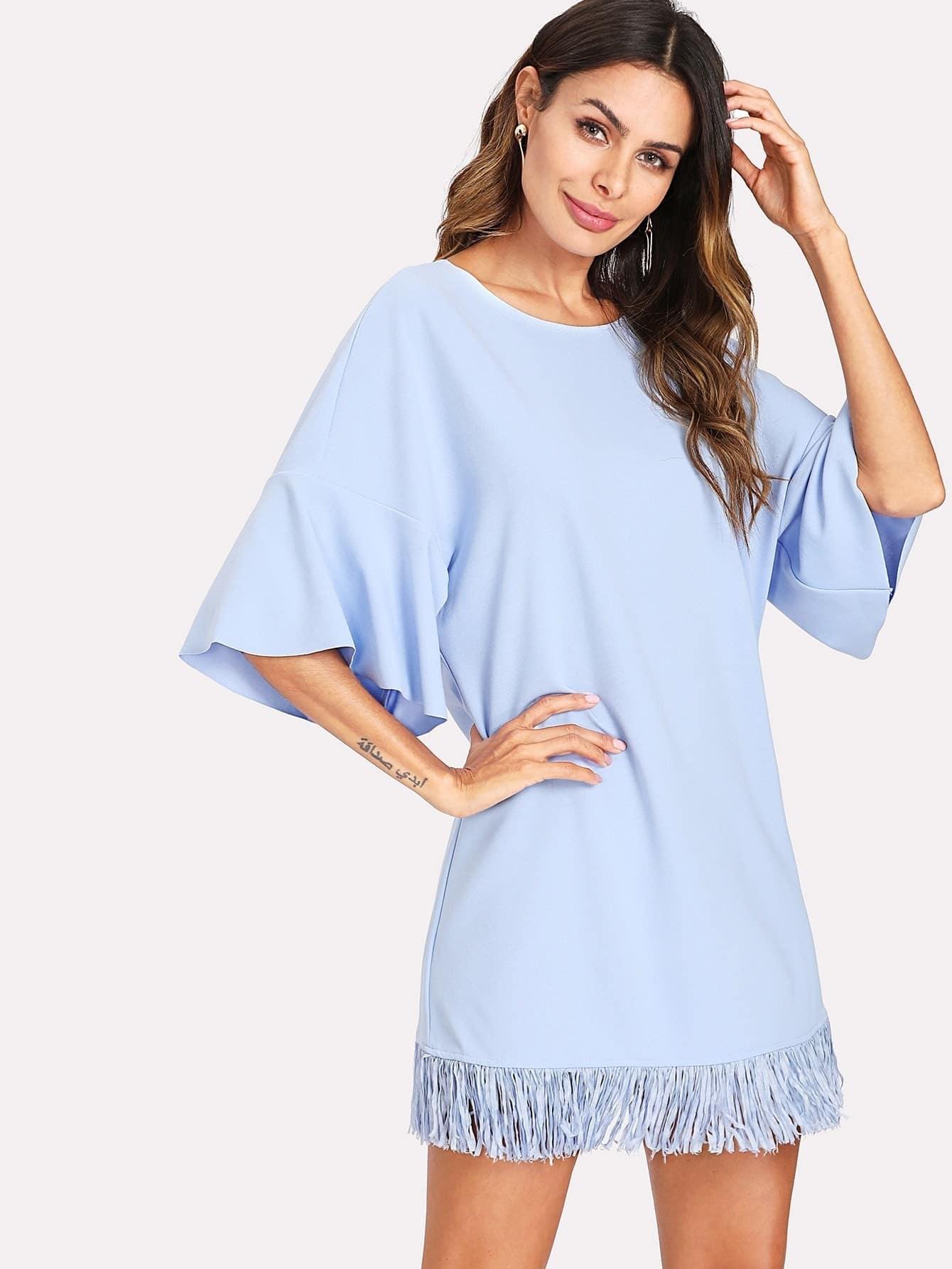 Fringe Hem Tunic Dress все цены