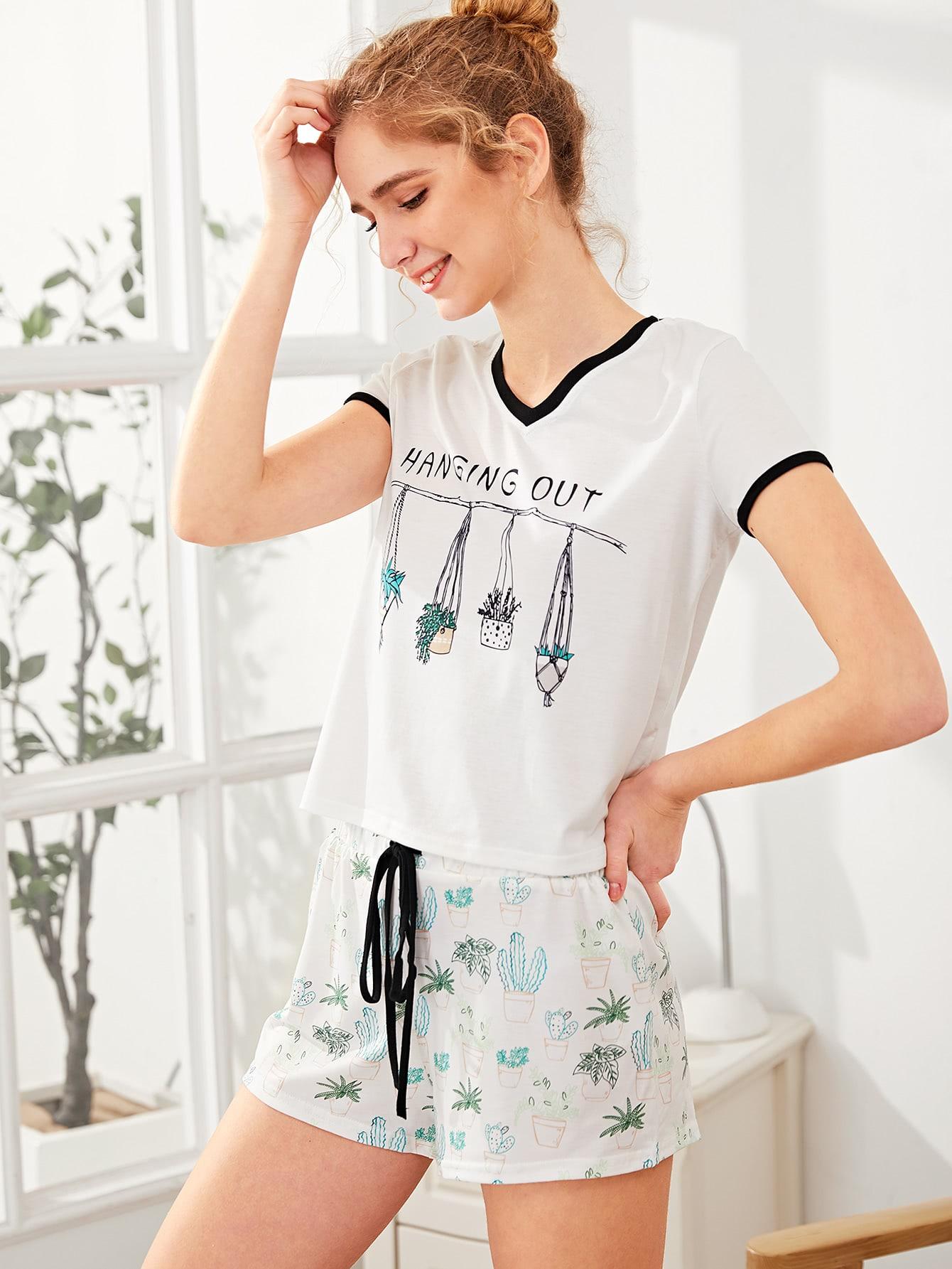 Graphic Ringer Tee And Drawstring Shorts Pajama Set