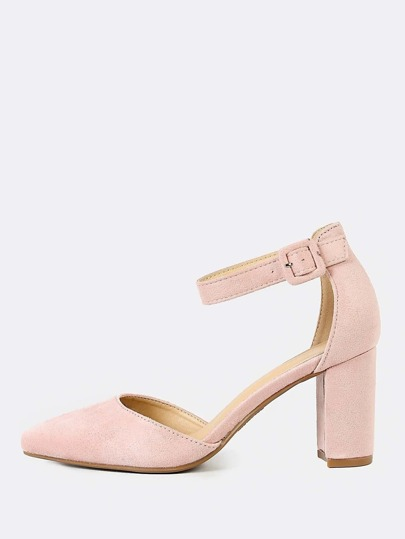 Pointy Toe Faux Suede Block Heel DUSTY ROSE