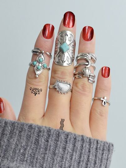 At-Silver Moon Arrow Ring 9-Pieces Set