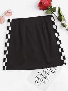 Gingham Side Zipper Back Skirt