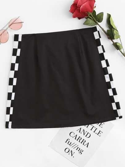 Gingham Side Zipper Back Skirt