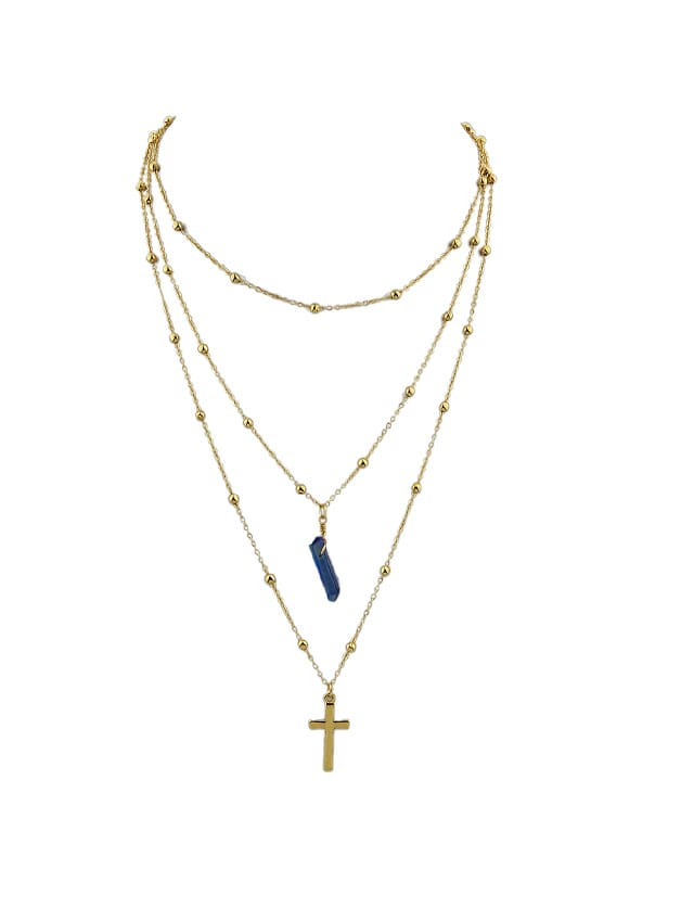 Blue Cross Natural Stone Multilayer Necklace Sweater Chain Necklace cat eye multilayer necklace
