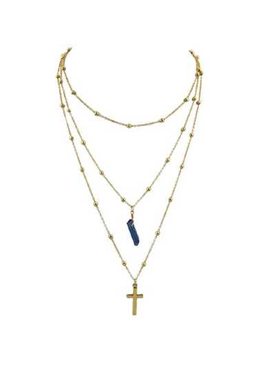 Blue Cross Natural Stone Multilayer Necklace Sweater Chain Necklace