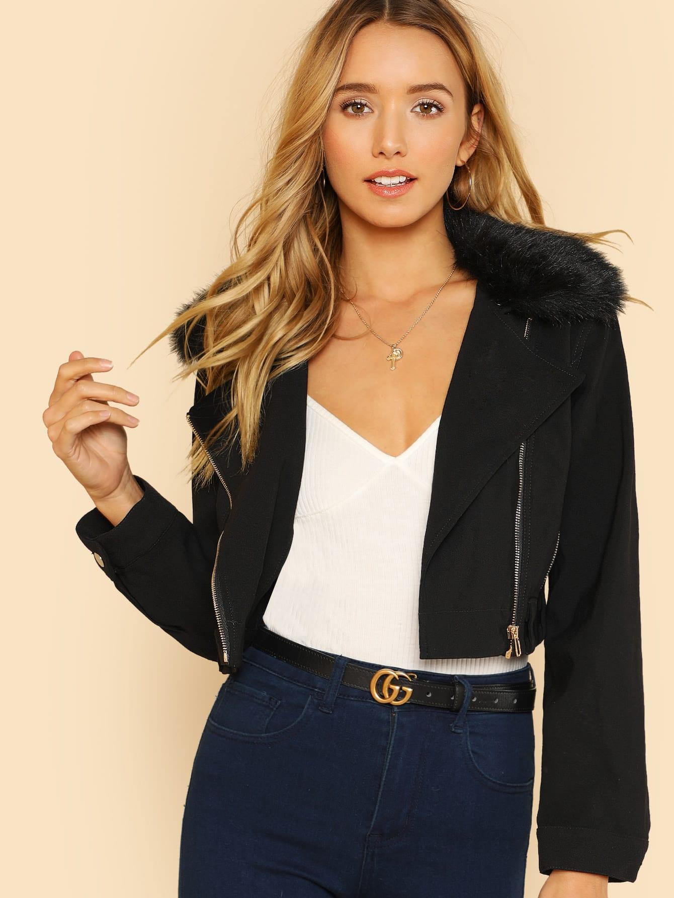 Faux Fur Collar Zip Detail Jacket zip up contrast trim faux fur collar padded jacket