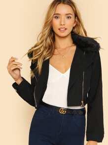 Faux Fur Collar Zip Detail Jacket