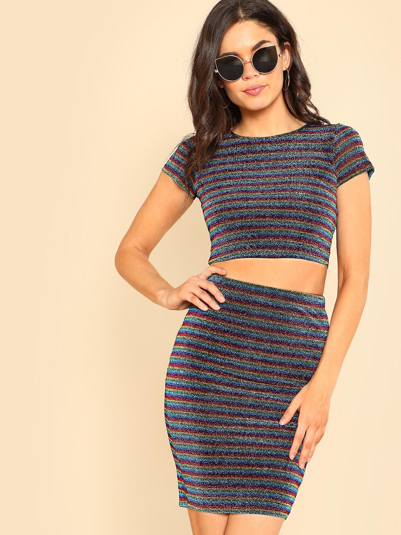 Glitter Striped Crop Top & Skirt Set zip back plaid crop top and skirt set
