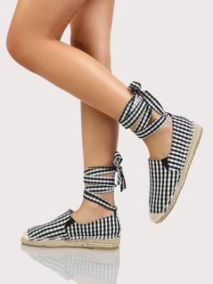 Gingham Espardrille Flatform Lace up Loafers BLACK WHITE