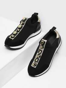 Studded Design Slip On Sneakers