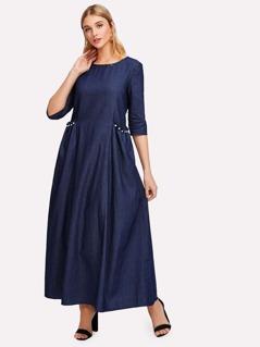 Pearl Beaded Frill Pocket Denim Dress
