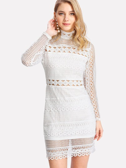 Circle Guipure Lace Dress