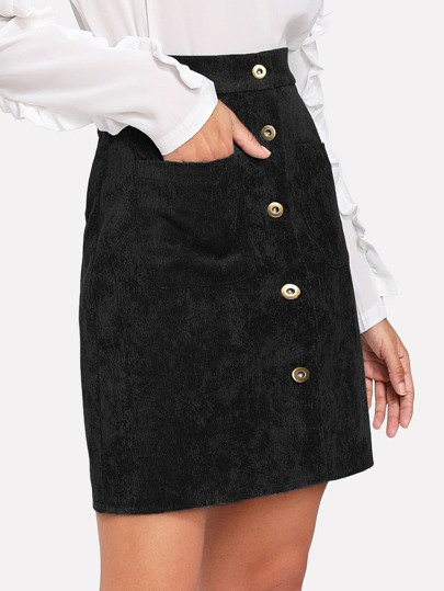 Corduroy Single Breasted Dual Pocket Skirt