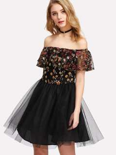 Embroidered Flounce Trim Mesh Bardot Dress