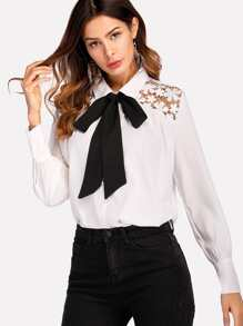 Guipure Lace Insert Tie Neck Shirt