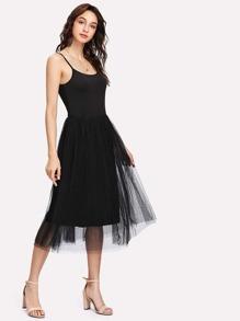 Mesh Contrast Cami Dress